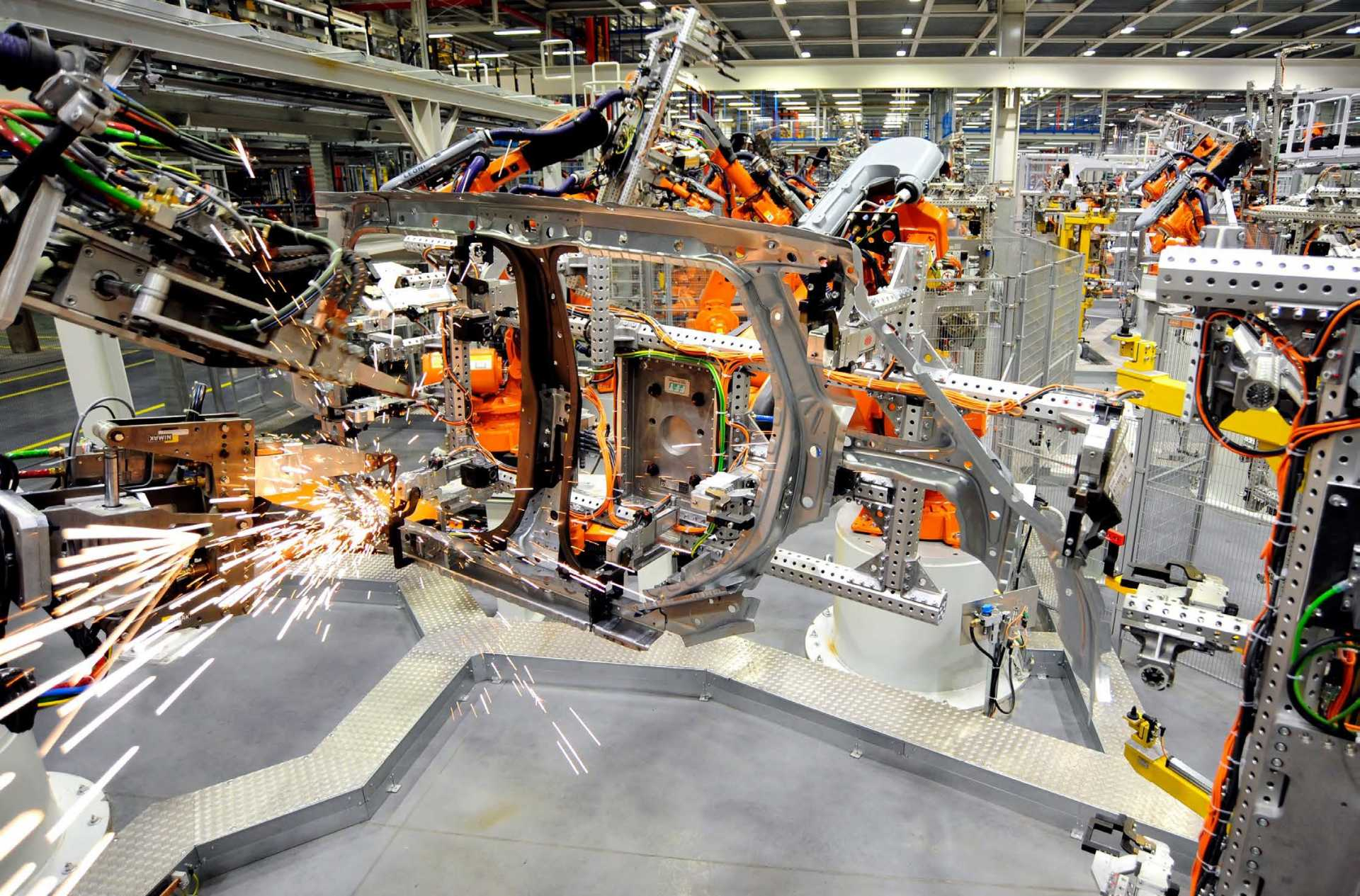 Robot welding in the bodyshop - image courtesy of MINI Oxford