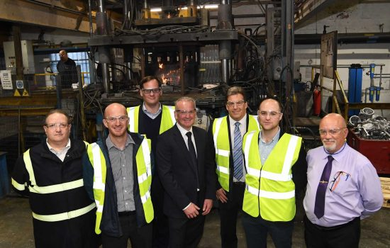 Anthony Evans (centre) with visitors from BEIS, CMF and the CWLEP Growth Hub - image courtesy of Sarginsons.