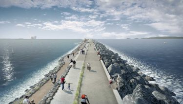 Tidal Power - Swansea Bay Tidal Lagoon is the pathfinder project for UK and international tidal lagoons at full-scale – shown here is an artist's impression of the lagoon wall