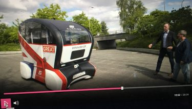 The distinctive Union Jack emblazoned Pod Zero was part of a full day's filming in the Buckinghamshire town - image courtesy of Aurrigo.