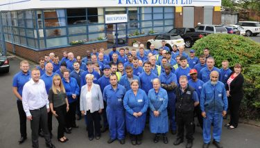 Jill Dudley-Toole (front row, fourth from left) and the Frank Dudley Limited workforce – image courtesy of FDL.