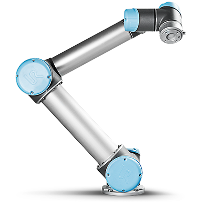 Cobot - A UR5 like this one picks and places all the components inside the control box which it then lifts up, turns around and places on a conveyer belt – image courtesy of Universal Robots.