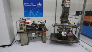 A Bridgeport milling machine and an old Colchester lathe, old machines packed with sensors communicating data in just the same way as any new machinery does - image courtesy of AMRC.