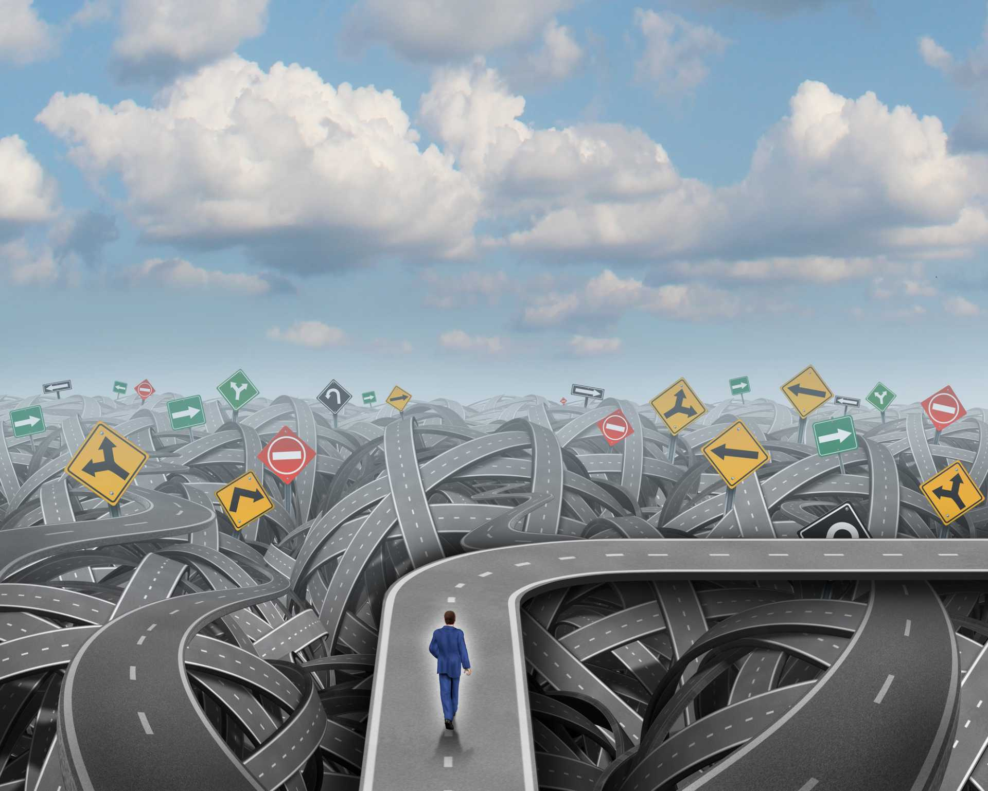 Confusion Road Puzzle Challenge - image courtesy of Depositphotos.