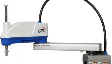 Grabit used a modified Toshiba Machine's THL1000 SCARA robot in the Stackit application, a horizontal multi-joint machine with four controlled axes.