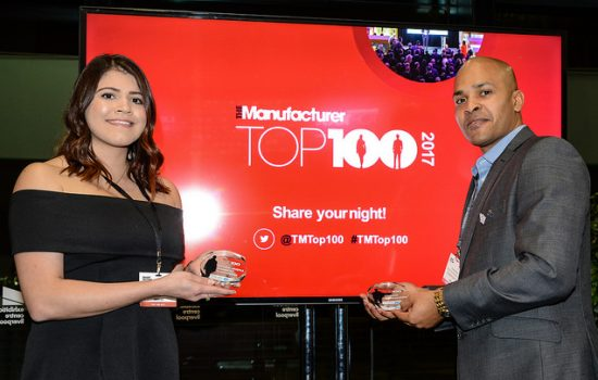 Two Exemplars celebrating at The Manufacturer Top 100 2017 launch reception - image courtesy of The Manufacturer.
