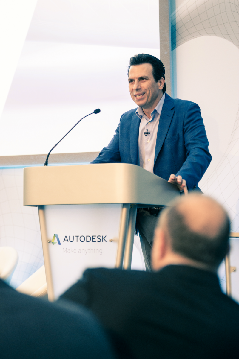 CEO, Andrew Anagnost, welcoming guests to the new Autodesk Technology Centre in Birmingham – image courtesy of Autodesk.