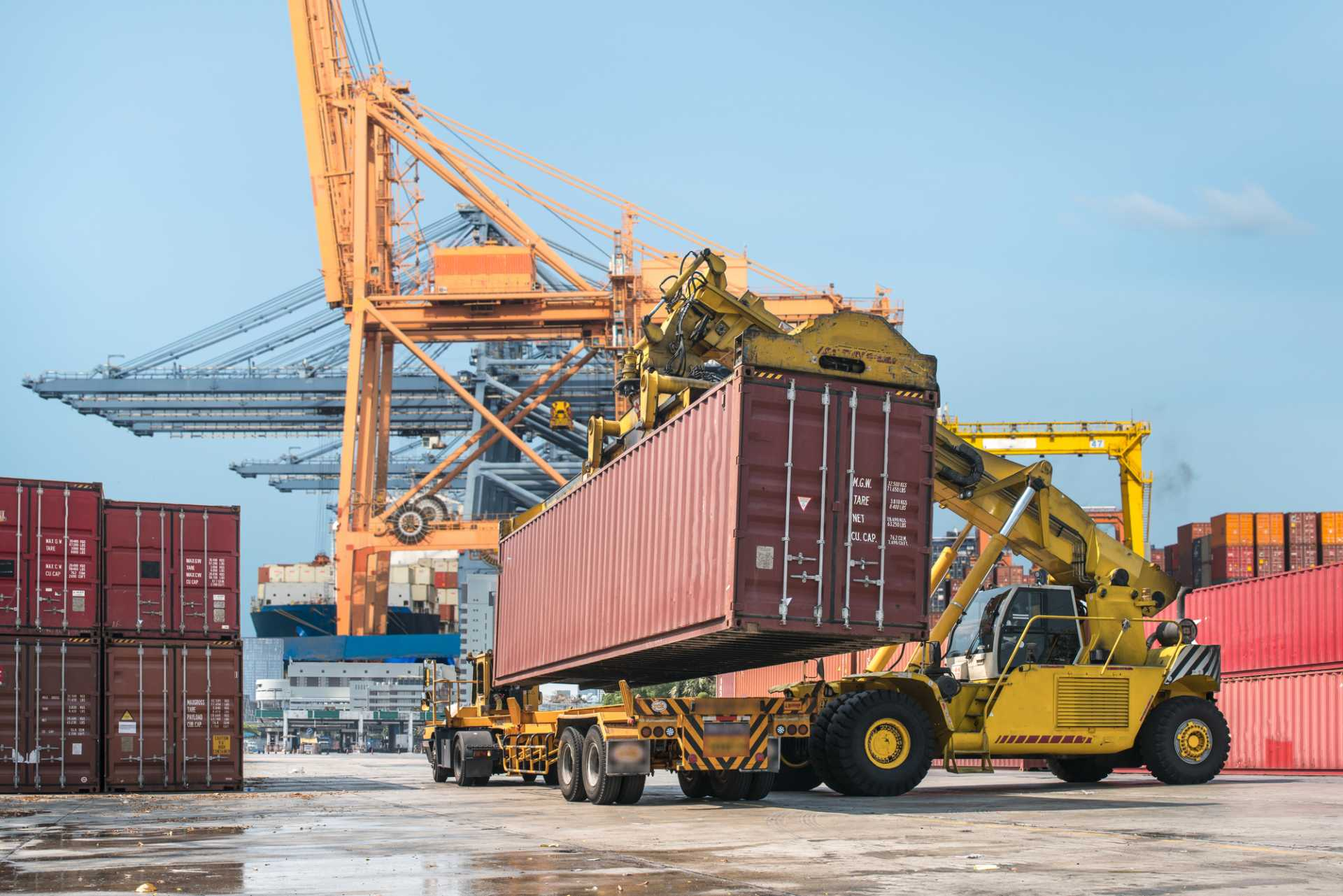 Exports Shipping Crate Forklift Container Port Docks Trade Supply Chain - image courtesy of Depositphotos