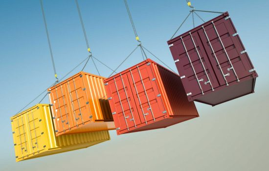 Exports Supply Chain Logsitics Shipping Containers - image courtesy of Depositphotos.