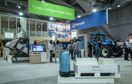Innovations showcasing Industrial IoT, AI, cobotics, digital twins and mixed reality were on display at Microsoft's booth at the annual Hannover Messe industrial fair.