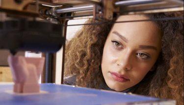 Women in Manufacturing 3D printing digital transformation - stock image