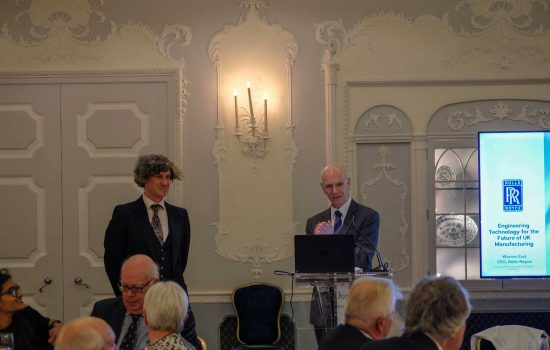 Jamie Costello Sutton Grammar School wins the 2018 DAvid Clark Prize - Sir John O'Reilly presents - image courtesy of Will Stirling.