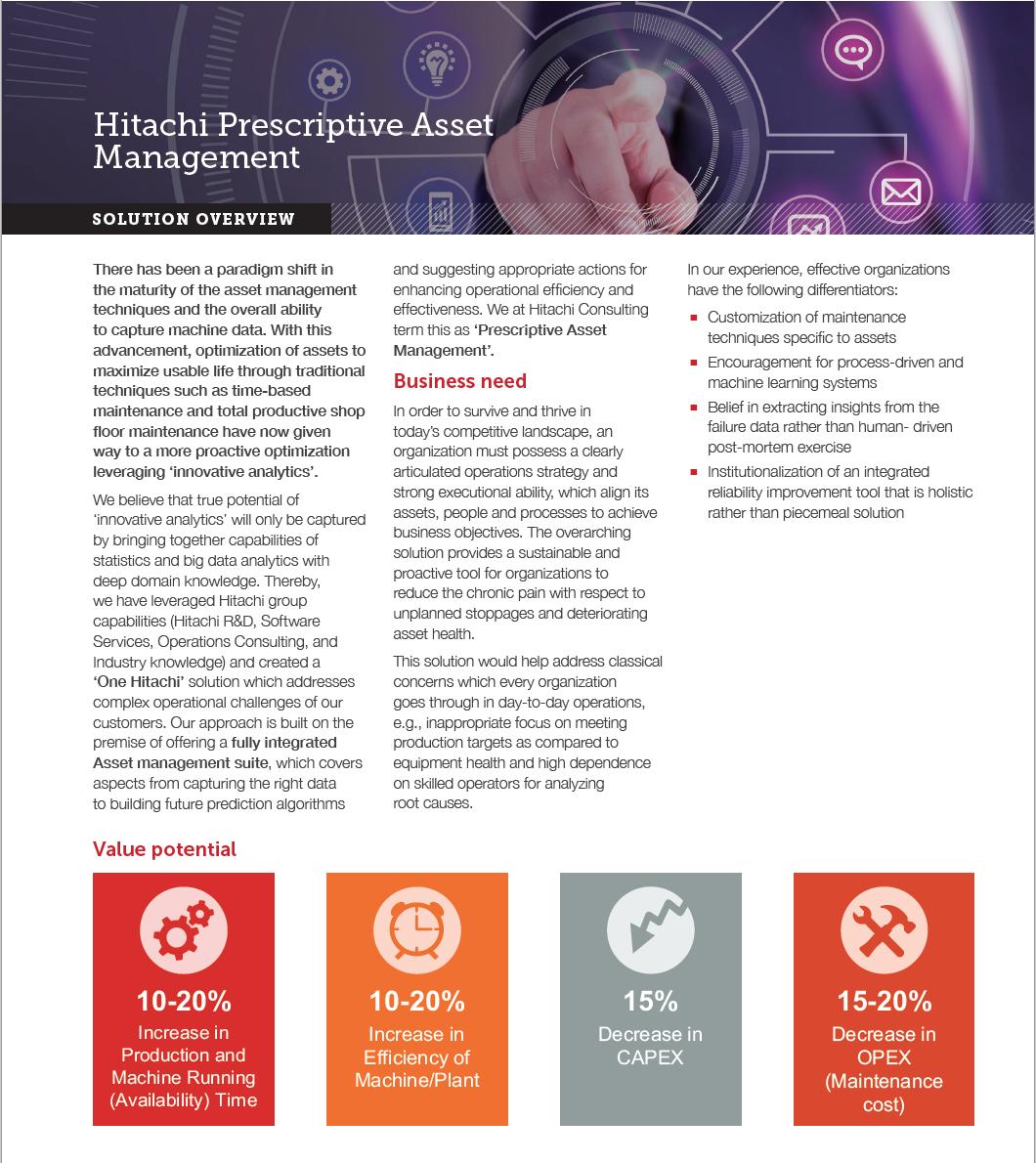 Hitachi Prescriptive Asset Management Screenshot