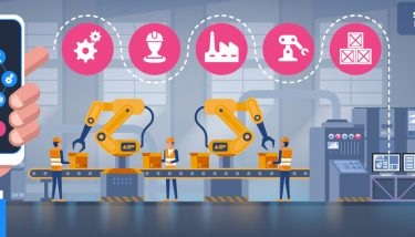 Smart Factories Industrial Robots - Manufacturing Skills Gap - Digital Technologies Smart Factory Automation Robots Digital Tools - Stock Image