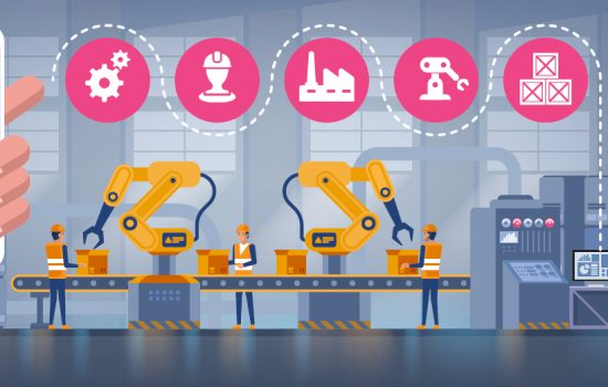 Smart Factories Industrial Robots - Manufacturing Skills Gap - Digital Technologies Smart Factory Automation Robots Digital Tools - Stock Image