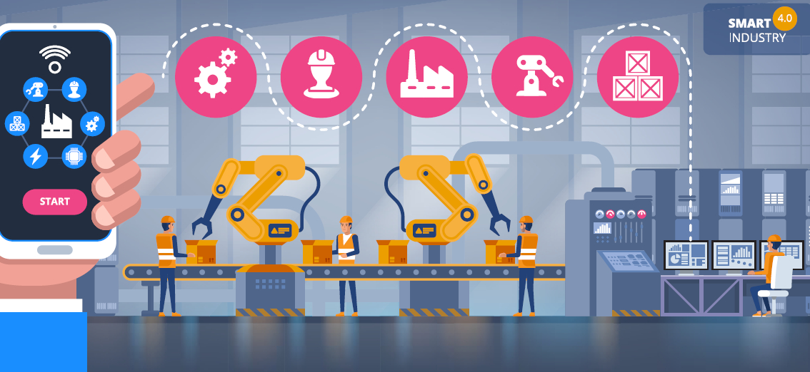 digital manufacturing - Smart Factories Industrial Robots - Manufacturing Skills Gap - Digital Technologies Smart Factory Automation Robots Digital Tools - Stock Image