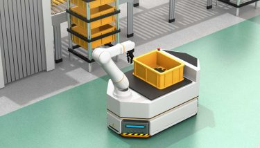 Automated Warehouse - Self driving AGV (Automatic guided vehicle) with robotic arm moving beside conveyor - image courtesy of Depositphotos.