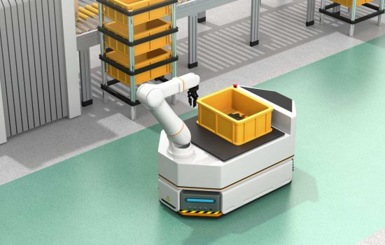 Robotics - Self driving AGV (Automatic guided vehicle) with robotic arm moving beside conveyor - image courtesy of Depositphotos.
