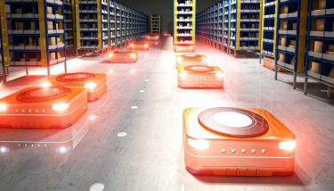 Automated modern warehouse robot robotics logistics automation - image courtesy of Depositphotos.