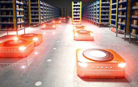 Mobile Robots - Automated modern warehouse robot robotics logistics automation - image courtesy of Depositphotos.