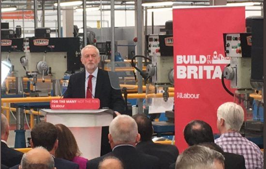Jeremy Corbyn launches Build It in Britain at one of EEF's premier facilities for training apprentices and professionals in manufacturing & engineering – image courtesy of EEF.