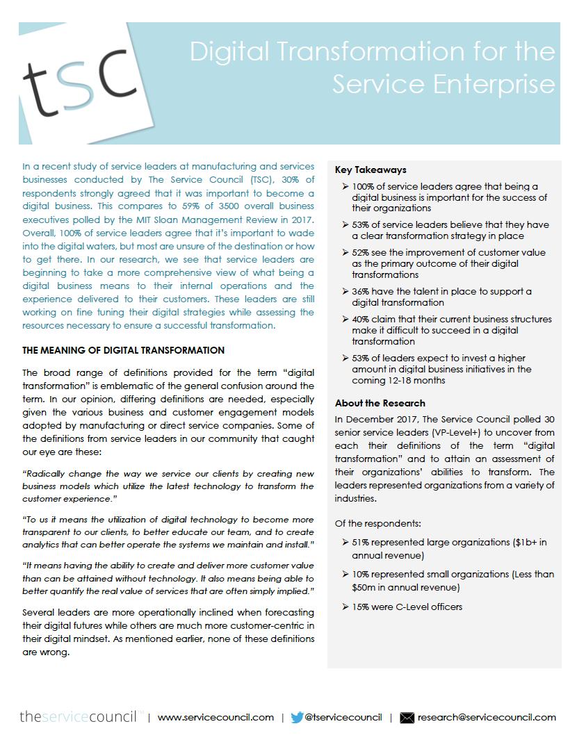Digital Transformation for the Service Enterprise - white paper Astea