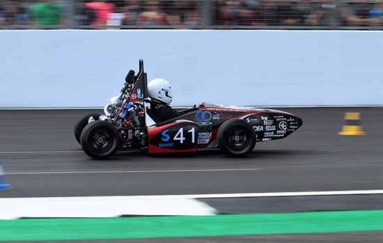 Sheffield Hallam University's car at Formula Student.