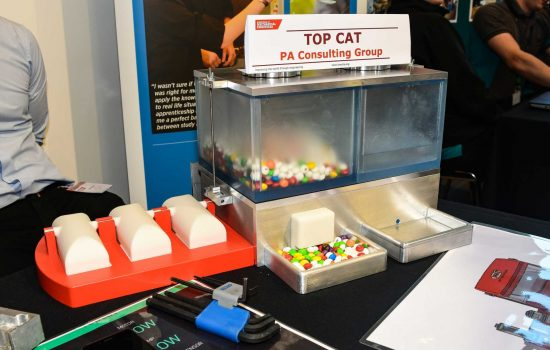 Top Cat's automated pet station, with chocolate candy in place of dry pet food - image courtesy of The Manufacturer's staff photographer Calum McCarron.