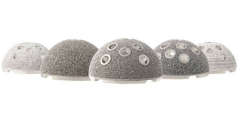 3D printed hip implants made from Titanium - image courtesy Stryker.