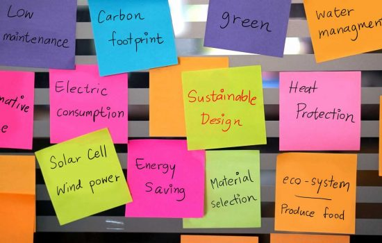 Sustainable, green design concept post it low carbon - image courtesy of Depositphotos