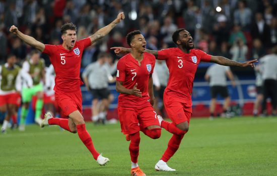 world cup 2018 - England team celebrates victory at end of the Round-16 Fifa World Cup Russia 2018 football match between COLOMBIA VS ENGLAND in Spartak Stadium - image courtesy of Marco Iacobucci EPP / Shutterstock.com