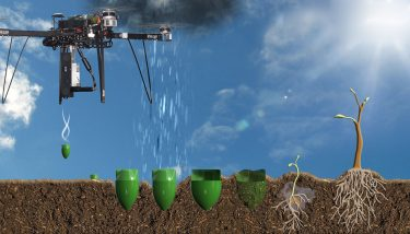 The planting drones fire a biodegradable seedpod into the ground - image courtesy of BCE.