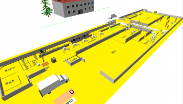 The virtual simulation of Genlab's factory - image courtesy of VEC.