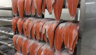 Scottish salmon is cured fro 24 hours in the smokehouse.