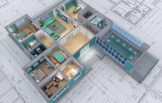 Cross-section of residential house. Blueprint 3D image - image courtesy of Depositphotos.