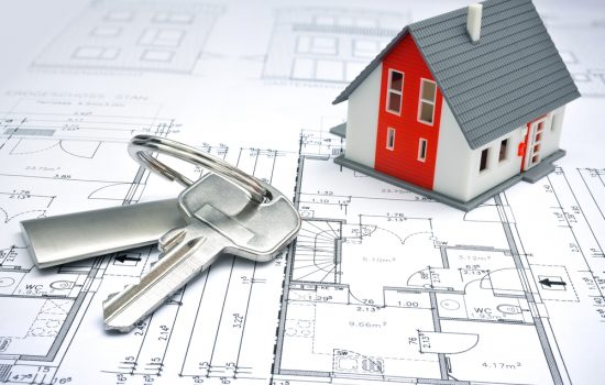 model of a house and key ring on a blueprint - image courtesy of Depositphotos.