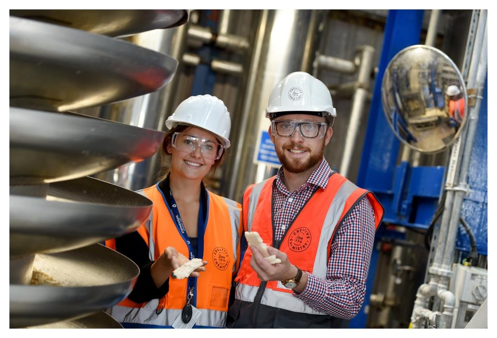 James Clew and Lucy Richardson at Stephenson Group's manufacturing plant in Yorkshire - image courtesy of Stephenson Group.