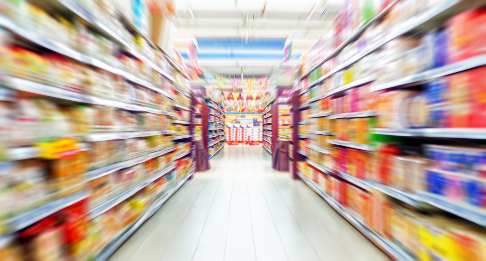Empty supermarket aisle, Motion Blur - image courtesy of Depositphotos.