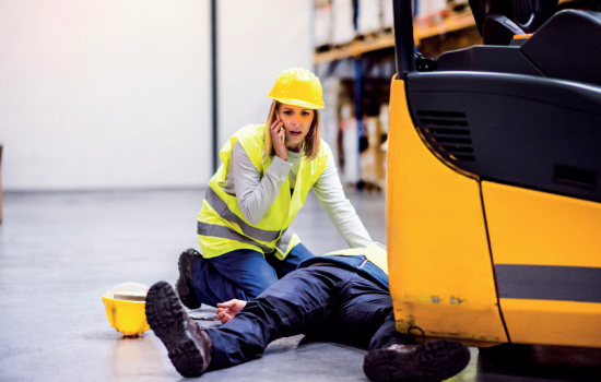 Accident Prevention Health and Safety Injury Forklife Emergency - Stock Image