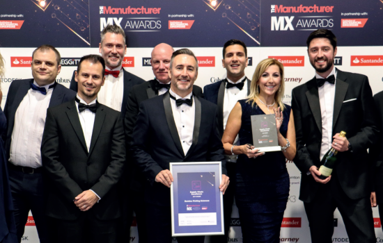 Supply Chain Excellence - Celebrating their win: the Domino team with their The Manufacturer MX Award.