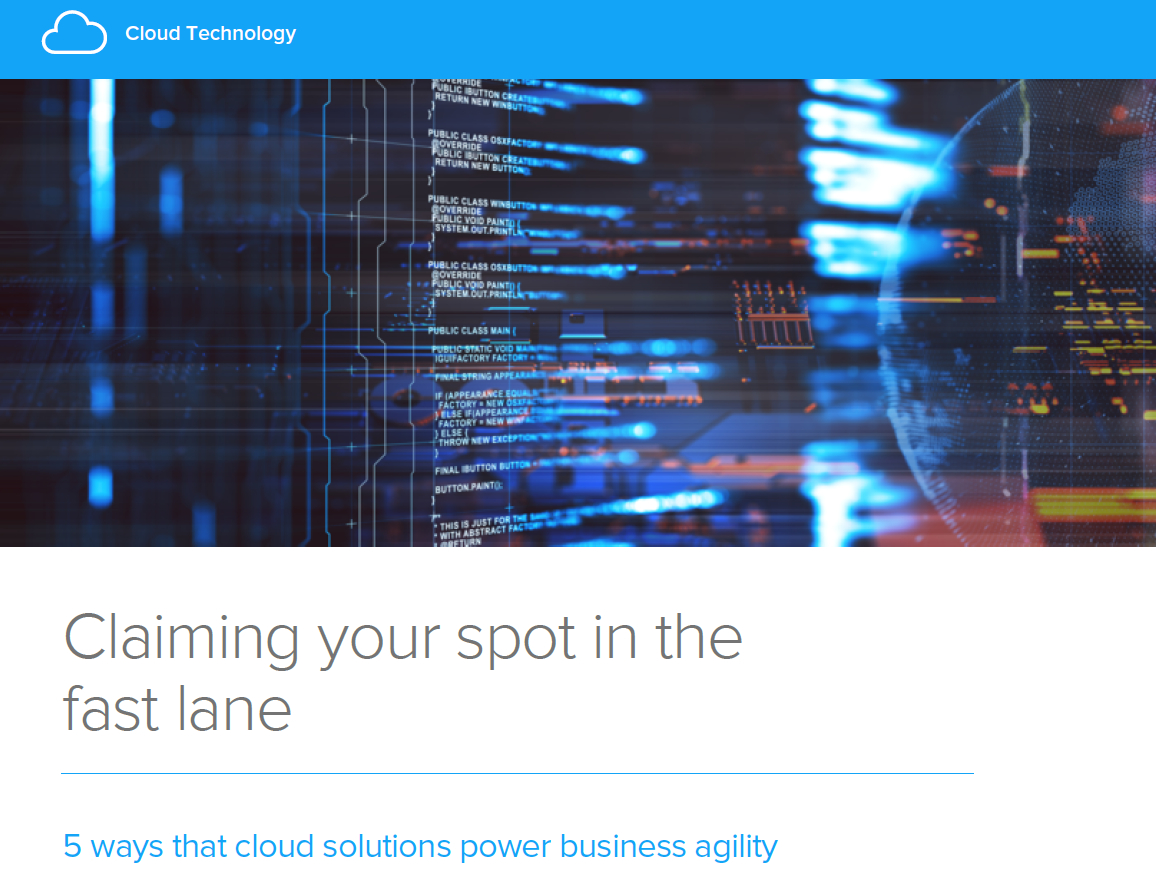 Infor Digital Briefing eBook FC - Claiming your spot in the fast lane - 5 ways that cloud solutions power business agility