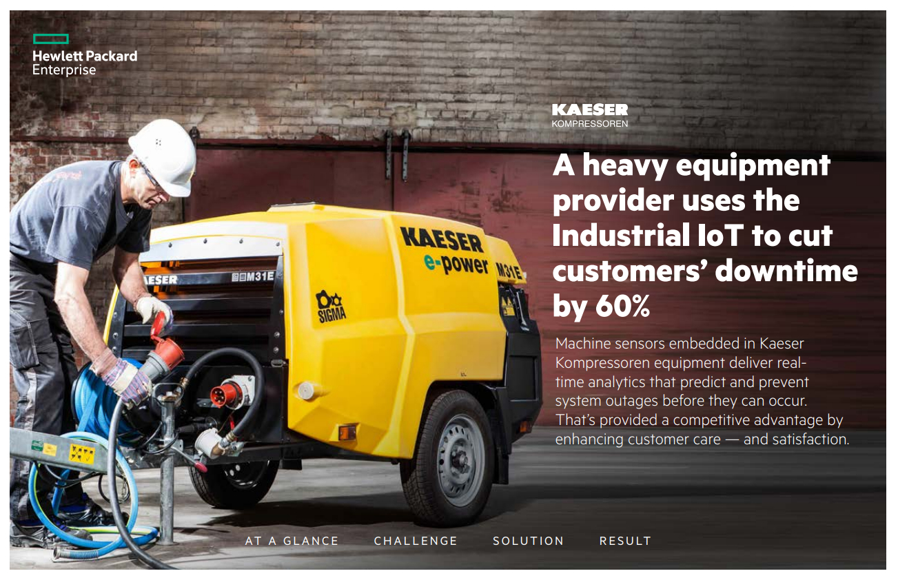 Heavy equipment provider, Kaeser Kompressoren, cut customers' downtime by 60% by leveraging the Industrial IoT - HPE Case Study