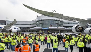 Boeing staff outside the newly opened Everett Delivery Center - image courtesy of Boeing