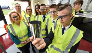 Bradford Manufacturing Week founder, Nick Garthwaite joined by Judith Cummins MP, school students and sponsors; Barclays, Naylor Wintersgill, Gordons LLP and Leeds Bradford Airport, to launch the start of the week.