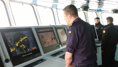 The view from the bridge thanks to exporter Kelvin Hughes and its naval navigation equipment.