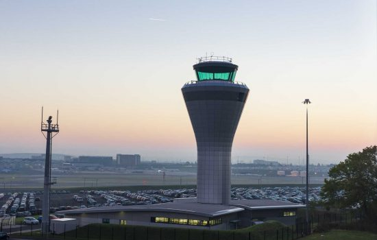 Dawn View of the Air Traffic Control Tower at Birmingham Airport in the Midlands - image courtesy of Depositphotos