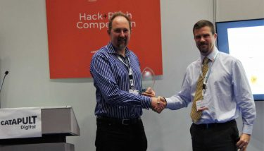 Electrozest's Martin Timms receives the Hack and Pitch Award from Digital Catapult for his pitch to Sellafield on remote condition monitoring of nuclear storage