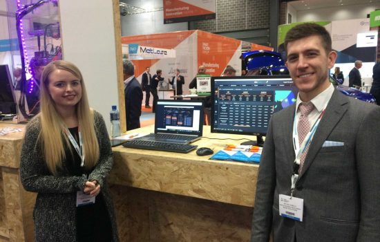 The Blinx Solution stand at Smart Factory Expo, Miacheal Ramella is pictured (L) - image courtesy of TM.