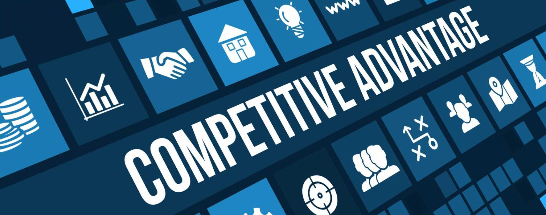 Competitive advantage concept image with business icons and copyspace – image courtesy of Depositphotos.