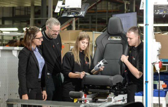 (From left to right): Jennifer Jach of Lear, Paul Lockwood of Gateshead College, apprentice Natalia Walas and apprentice Jordan Barrowman - image courtesy of Gateshead College.